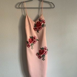 Rose embroidered pink dress